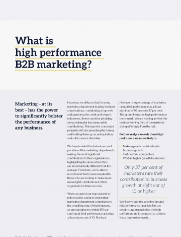 high performance b2b marketing benchmarking report