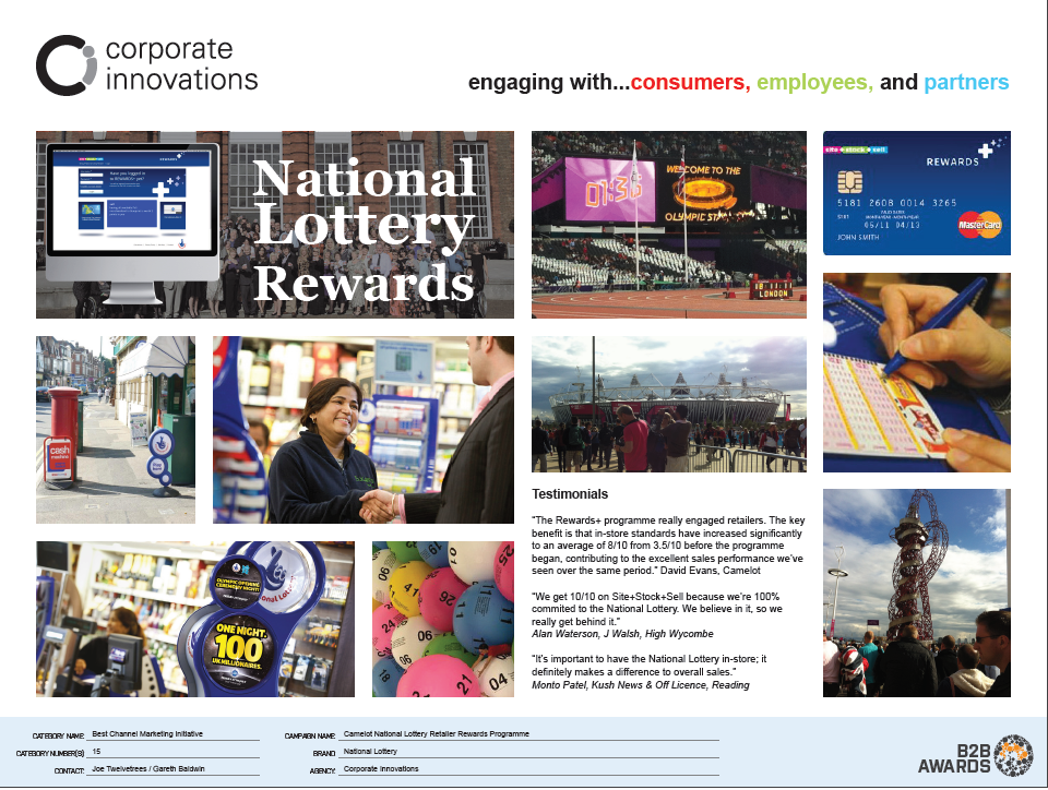 'National Lottery retailer rewards+ programme' for Camelot by Corporate Innovati