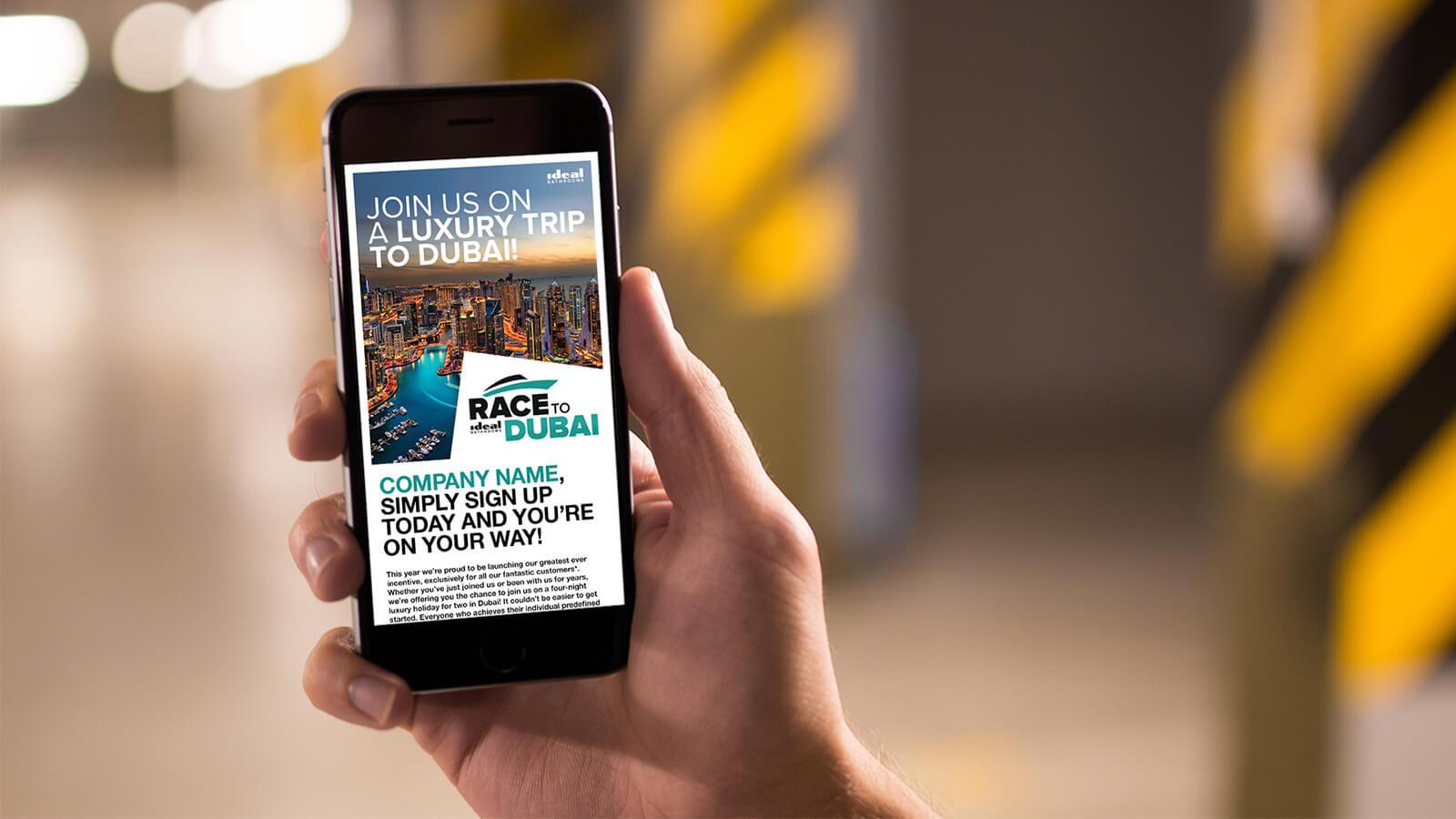 Race to Dubai Ideal kitchens mobile campaign image
