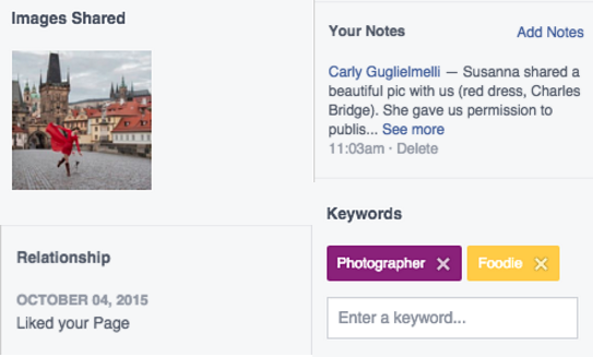 It's easy to get lost in a Facebook converstaion, especially one that strings out over days or months. Links get forgetton and images misplaced. Keywords help admins easily categorize conversations and even assign customer personas, which can help add rel