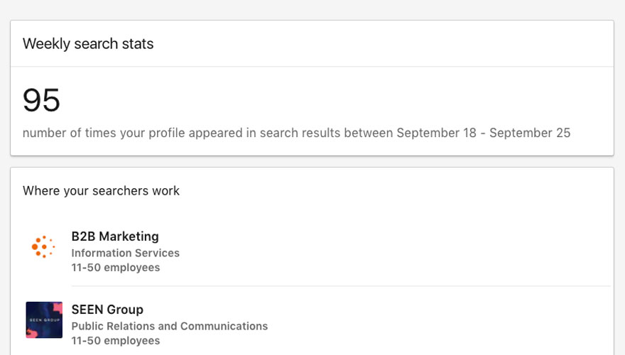 Weekly search stats on LinkedIn