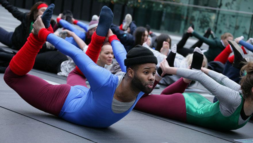 Powwownow public yoga class in London B2B marketing
