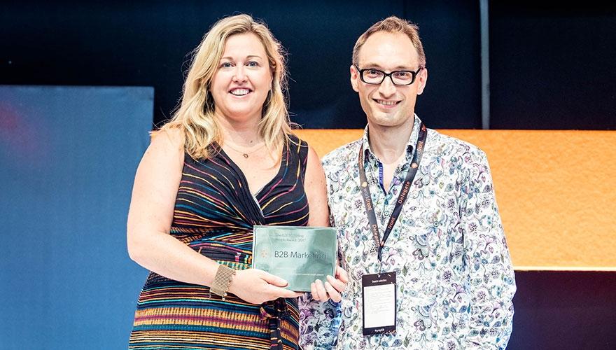 Cara O'nions, director of marketing and customer insight at Vocalink, with Dave Stevens, marketing director at British Land and chair, BMC