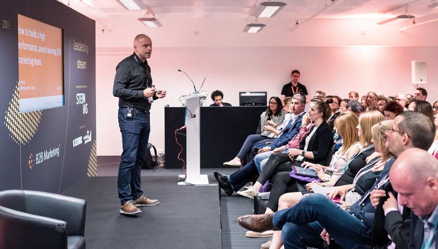 Gary Hurry, VP marketing, Thomson Reuters speaking at B2B Ignite 2019 image