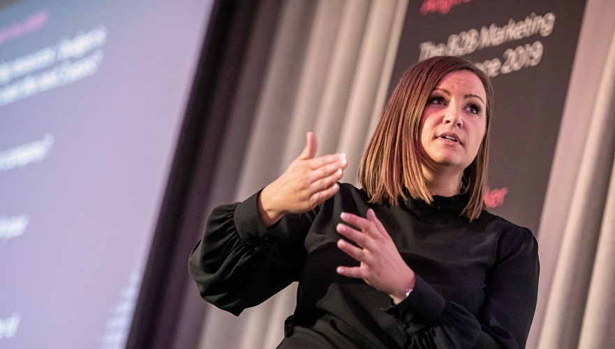 Gemma Davies, director global ABM strategy, ServiceNow speaking at the 2019 B2B Marketing ABM Conference