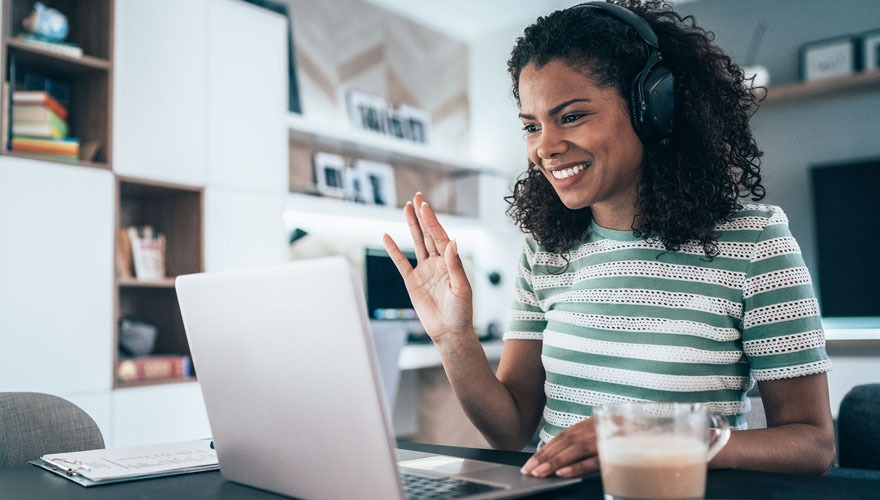 woman engaging work colleagues from home