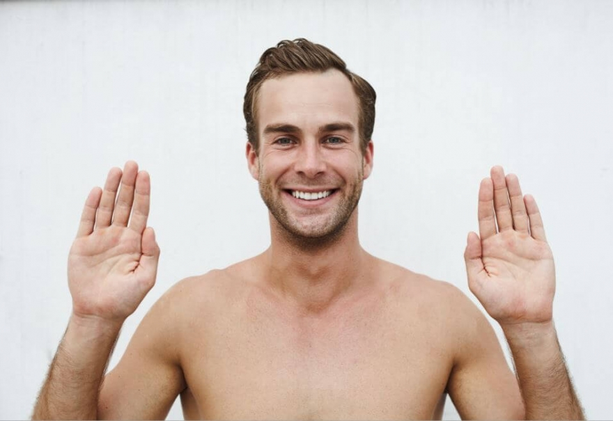 B2B Marketing branding - man with hands up