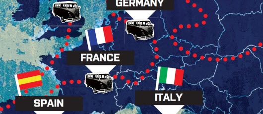 European road trip map