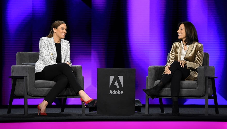 Marketo CMO Sarah Kennedy (left) with Adobe CMO Ann Lewnes on stage at the Adobe Summit in Las Vegas