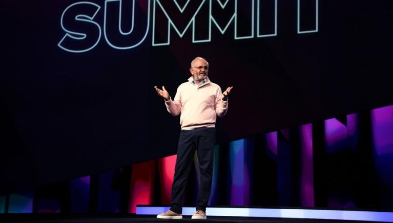 Adobe CEO Shantanu Narayen on stage at the Adobe Summit 2019
