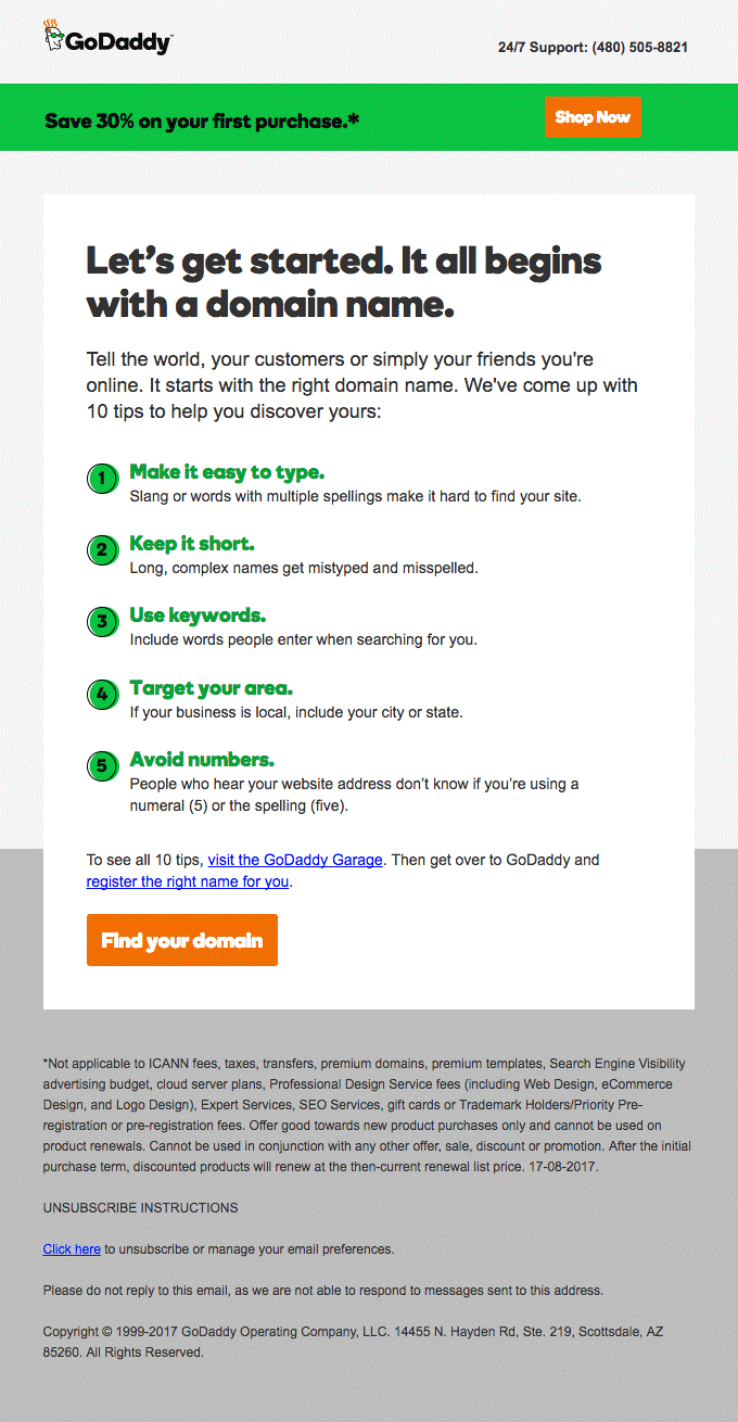 Go Daddy marketing automation email