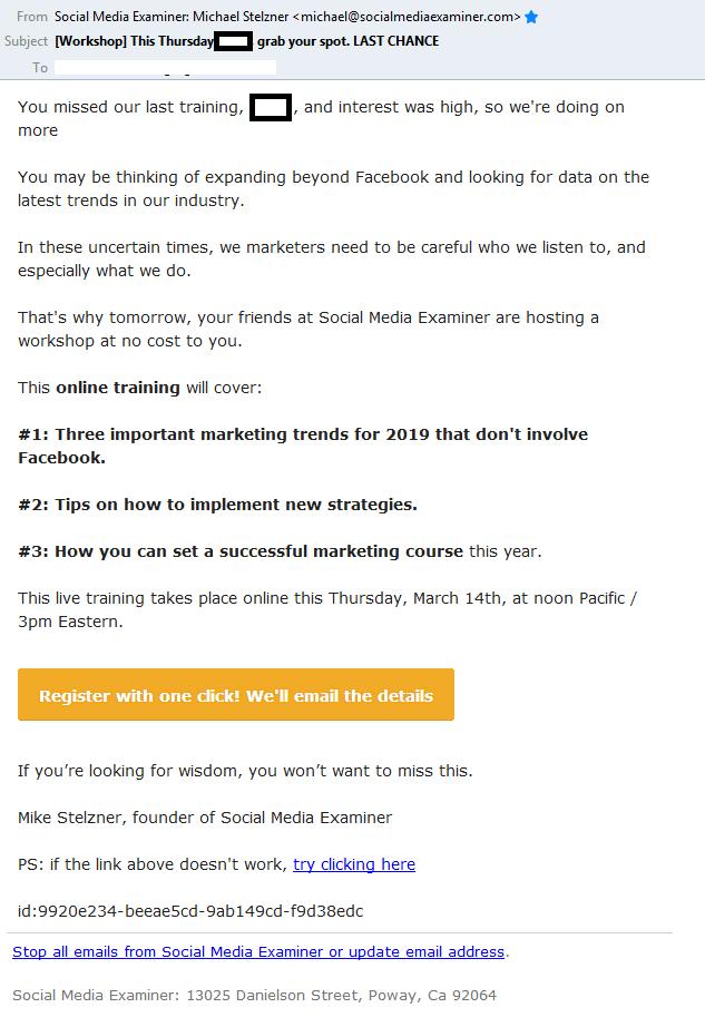Social Media Examiner email
