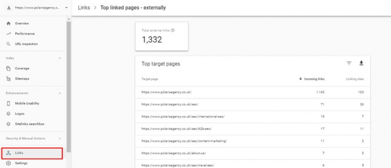 Google Search Console top links screenshot image