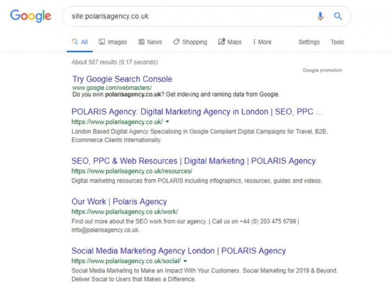 Polaris Agency Google search screenshot image
