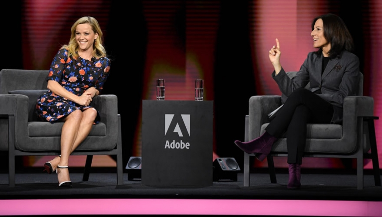 Actor Reece Witherspoon with Adobe CMO Ann Lewnes