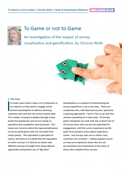 To game or not to game: an investigation of the impact of survey visualisation and gamification