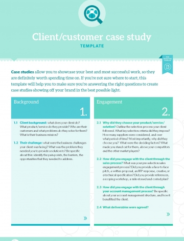 Customer case study for Template for writing a case study
